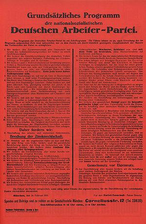 """Forderungen der NSDAP im """"Grundsätzlichen Programm"""""""