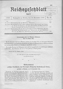 Sudetenlandeingliederung-Münchner Abkommen