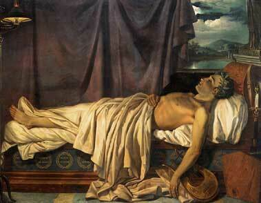 Byron on his death bed. A painting by Joseph-Denis Odevaere,1826.