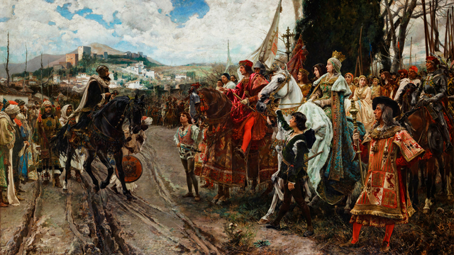 El rey Boabdil entrega la ciudad de Granada a los Reyes Católicos