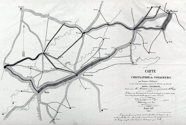 Carte de la circulation des voyageurs par voitures publiques sur les routes de la contrée où sera placé le chemin de fer de Dijon à Mulhouse, 1845