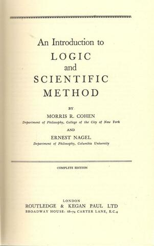 """""""An Introduction to Logic and Scientific Method"""" Published"""