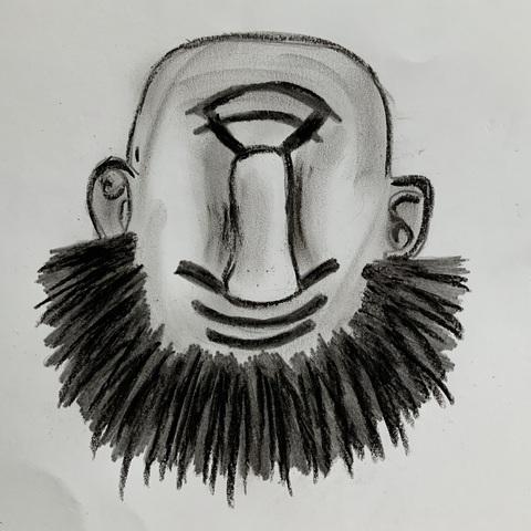 l'uomo barbuto e il bastone