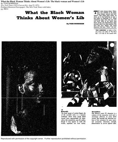 """Toni Morrison: """"What the Black Woman Thinks about Women's Lib"""""""