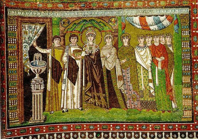 Mosaico de Teodora y su sequito