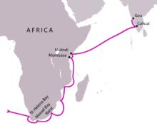 Descobriment de la ruta fins l´India vorejant la costa Africana per Vasco de Gama.
