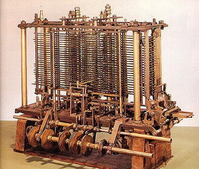 Разностная машина Чарльза Бэббиджа, первая попытка создать программируемое вычислительное устройство.