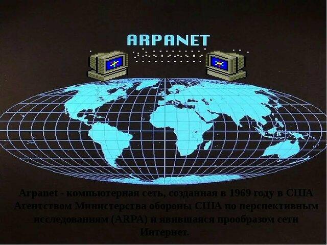 Пентагон создает четыре узла сети ARPAnet — прообраза современной Internet. День 2 сентября 1969 принято считать днём рождения Интернета.