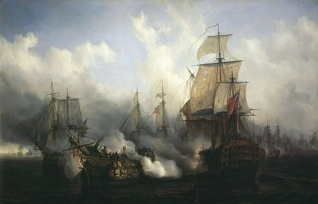 La Armada Real británica derrota a la flota franco-española en la Batalla de Trafalgar