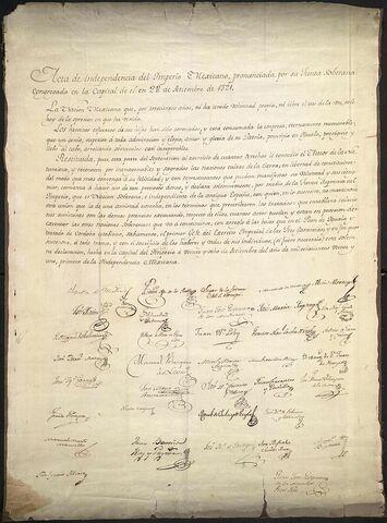 Firma del Acta de Independencia del Imperio Mexicano