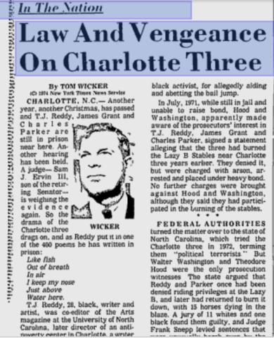 The Charlotte Three Thomas James (T.J) Reedy