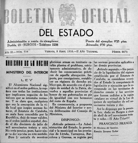 Franco deroga l'Estatut de Catalunya