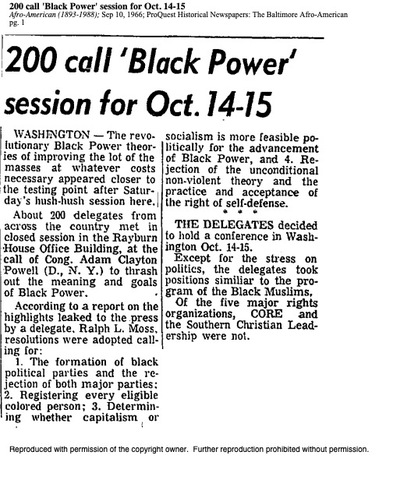Flo Kennedy attends National Black Power Conference planning meeting