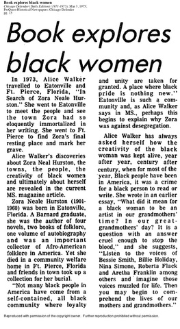 """Alice Walker, """"In Search of Our Mothers' Gardens"""""""