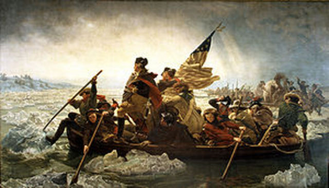 Washington crosses the Delaware River