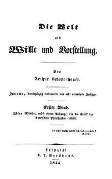SCHOPENHAUER: El mundo como voluntad y representación 1819