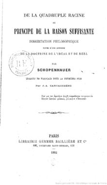 SCHOPENHAUER: Tesis doctoral sobre la Cuádruple raíz del principio de razón suficiente
