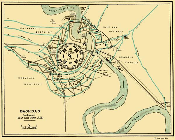 Ciudad redonda de Bagdad. Fundada por Al-Mansur.