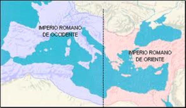 division del imperio romano de Oriente y Occidente por Teodosio