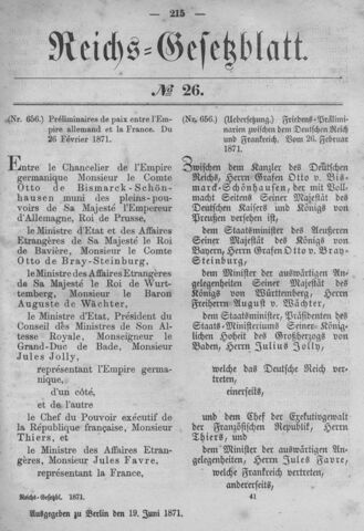 Preliminary Treaty of Versailles signed by Adolphe Thiers & Otto von Bismarck
