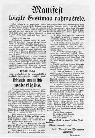 Iseseisvusmanifesti ettelugemine Tallinnas