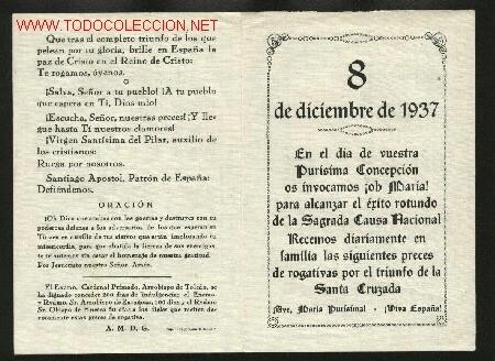 El dia 8, Dia de la Immaculada, queda establert com a festiu per decret de la Junta de Burgos.