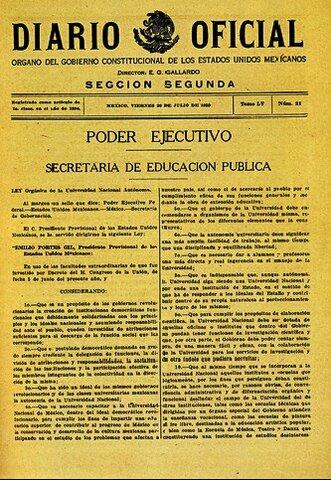 Ley orgánica de la UNAM