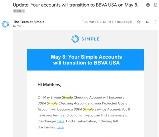 Announced Date for BBVA Transition/Simple Closure