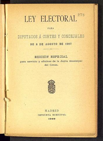 Leyes de Administración Local y Electoral (agosto)