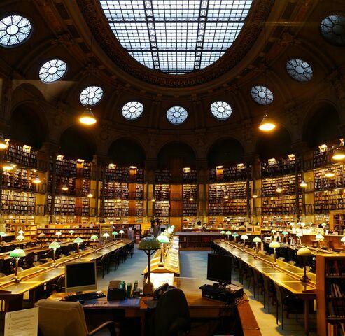 Sala de lectura de la Biblioteca Nacional de Francia. por Henri Labrouste.