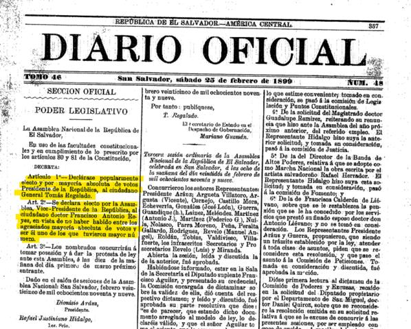 La Asamblea declara popularmente electo al general Tomás Regalado