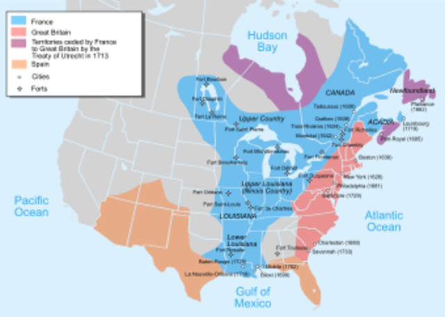 France and England both calim Ohio river valley and parts of Canada