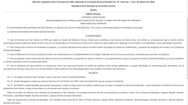Por decreto legislativo se le restituye el título de Capital de la República a San Salvador