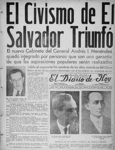 Maximiliano Hernández Martínez renuncia la presidencia.