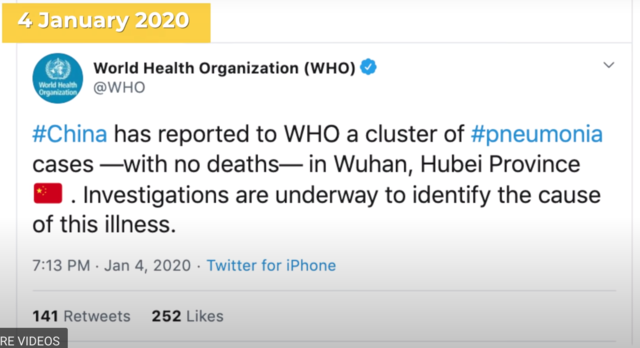 WHO reported on social media that there was a cluster of pneumonia cases – with no deaths – in Wuhan, Hubei province.