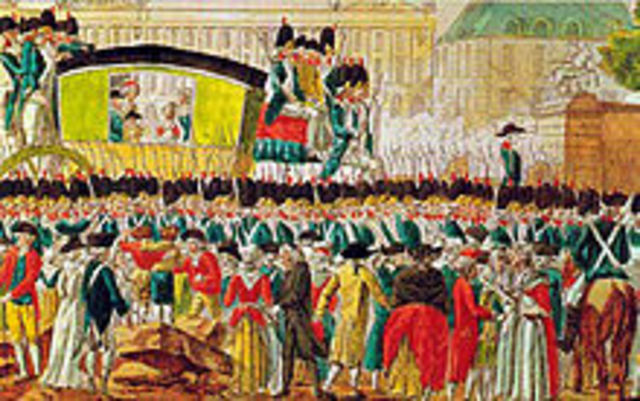 Representatives of the tiers état form a National Assembly swearing not to leave until a new constitution is established.