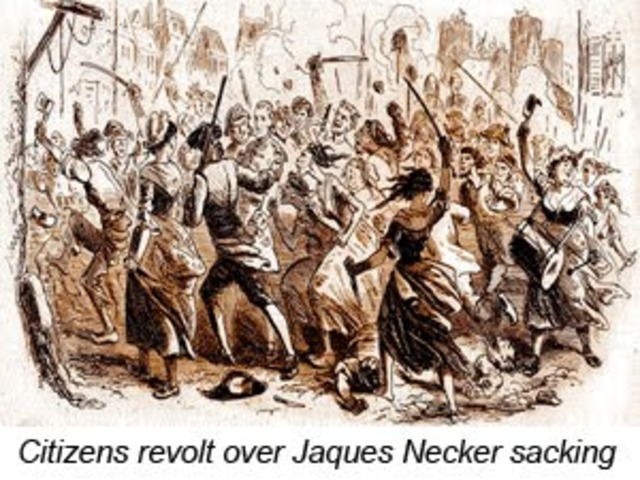 Necker is dismissed. 50,000 citizens arm themselves with pikes and form National Guard.