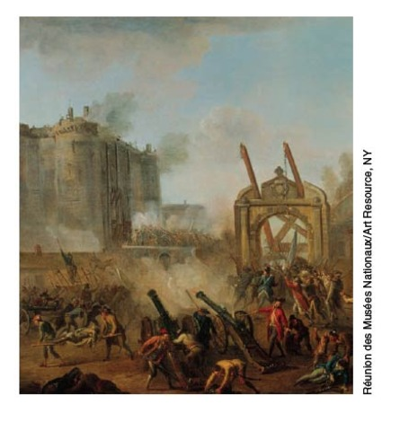 Armed citizens storm and capture the Bastille.
