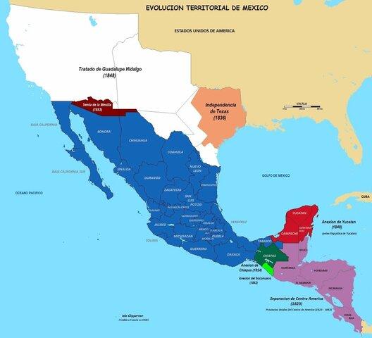 California y Nuevo México a EUA.