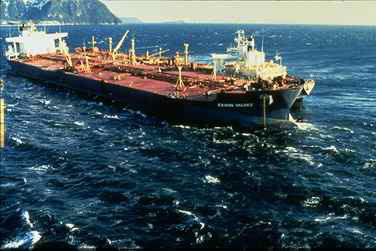 The Exxon Valdez spills oil