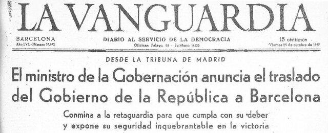 Negrín traslada el gobierno de València en Barcelona.
