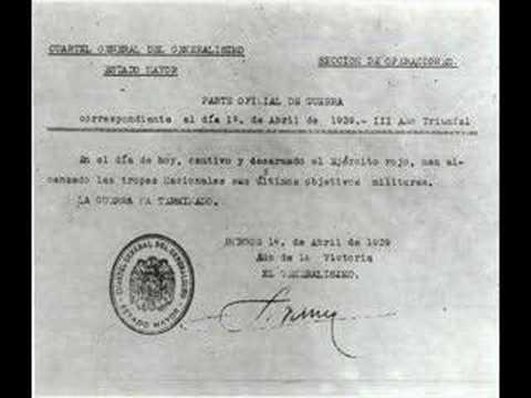 Franco firma un comunicado en que mujer la guerra por acabada.