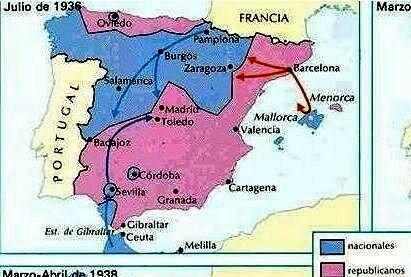 MAPA DE LA PRIMERA FASE MILITAR (Objectiu va ser Madrid)