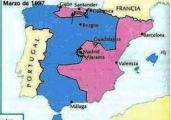 MAPA DE LA SEGONA FASE MILITAR DE LA GUERRA CIVIL (Ocupació de la franja cantàbrica)