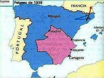 MAPA DE LA QUARTA FASE MILITAR DE LA GUERRA CIVIL ( Ocupació de Catalunya)