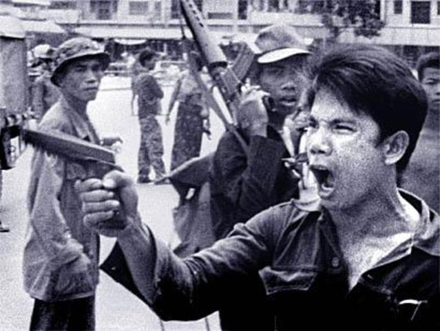 Pol Pot and the Khmer Rouge overthrow the Cambodian government