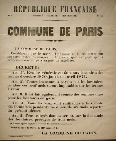 The Commune repeals legislation (passed by the authority based in Versailles) calling for the payment of rent arrears & debts that had been suspended during the siege.