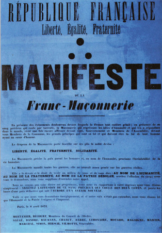 """Council of the Order of Freemasons issues a """"Manifesto"""" addressed to the government in Versailles & to the Commune"""
