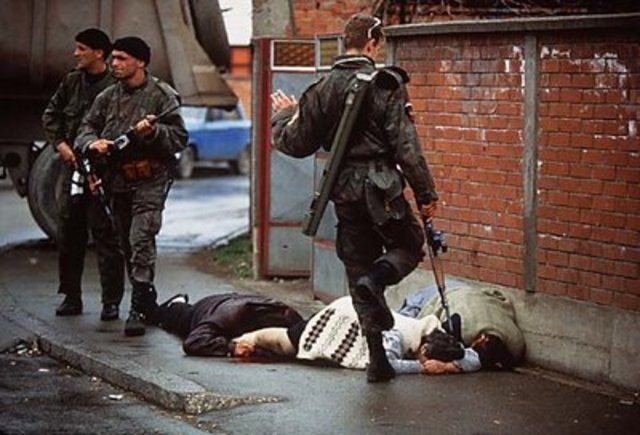 The first acts of genocide are committed in Sarajevo by Serbian leader Radovan Karadzic