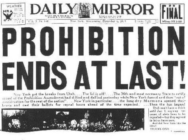 the 18th amendment goes into effect.